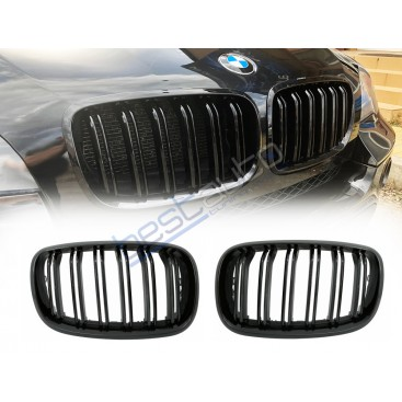 Бъбреци за BMW X5 E70 / X6 E71 (2007-2014) Черен Гланц Двойни