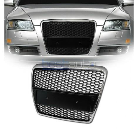 Тунинг решетка тип RS за Audi A3 8P (2005-2008) - черна с хром рамка