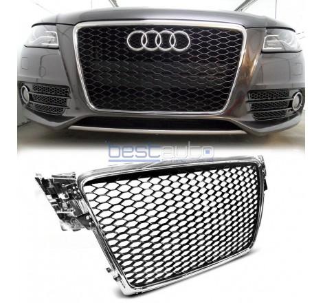 Тунинг решетка тип RS за Audi A4 B8 (2008-2011) - черна с хром рамка
