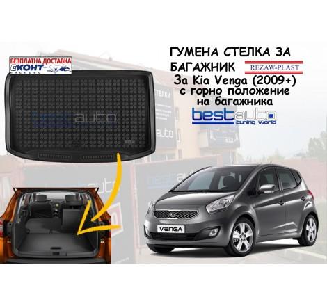 Гумена стелка за багажник Rezaw Plast за Kia Venga (2009+) в гоорно положение на багажника.