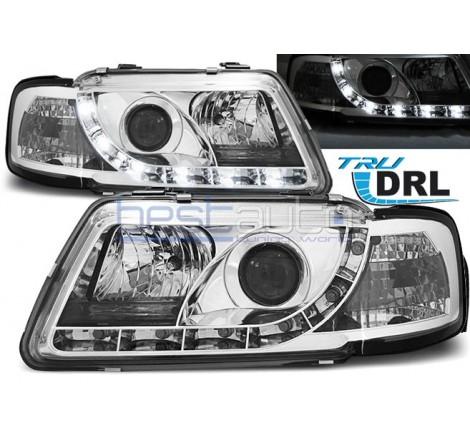 Тунинг фарове с R87 Дневни Светлини DRL за Audi A3 8L (1996-2000) Хром