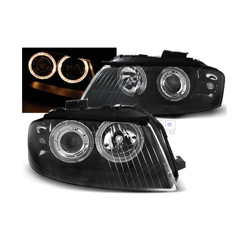 Тунинг фарове Angel Eyes за Audi A3 8P (2003-2008) Черни
