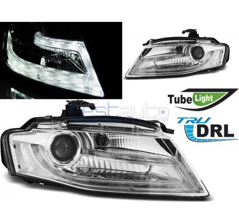 Тунинг диодни фарове R87 Tube Light за Audi A4 B8 (2008-2011) Хром