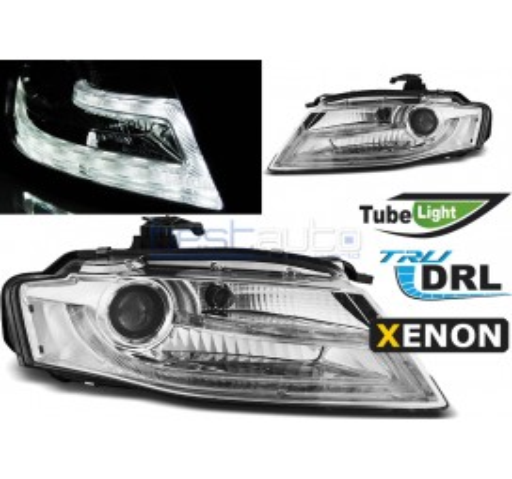 Тунинг диодни фарове D3S R87 Tube Light за Audi A4 B8 (2008-2011) Хром