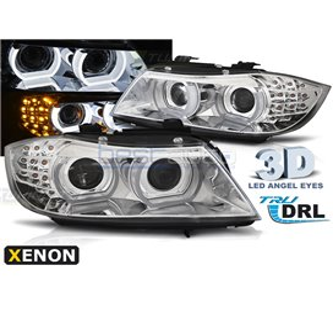 Тунинг фарове D1S 3D LED Angel Eyes за BMW E90 / E91 (2009-2011) Хром