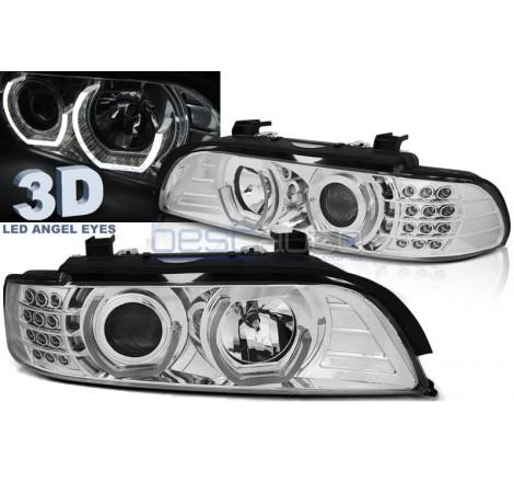 Тунинг фарове 3D Angel Eyes за BMW E39 (1995-2003) Хром