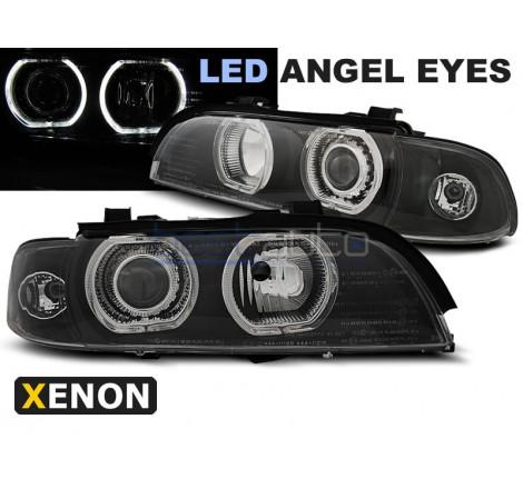Тунинг фарове LED Angel Eyes D2S/H7 за BMW E39 (1995-2003) Черни