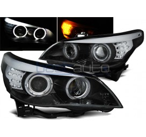 Тунинг фарове Angel Eyes за BMW E60 / E61 (2003-2007) Черни