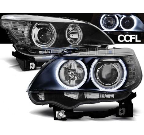 Тунинг фарове CCFL Angel Eyes за BMW E60 / E61 (2003-2007) Черни