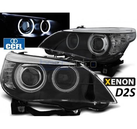 Тунинг фарове CCFL Angel Eyes D2S за BMW E60 / E61 (2003-2007) Черни