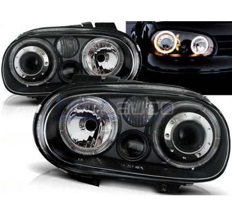 Тунинг фарове Angel Eyes за Volkswagen Golf 4 (1997-2003) Черни