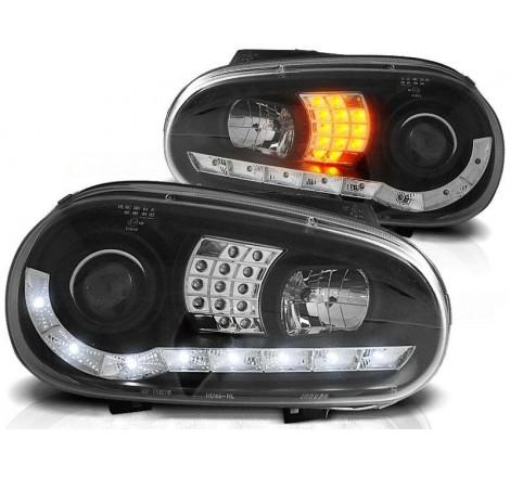 Тунинг диодни фарове Daylight с LED мигачи за Volkswagen Golf 4 (1997-2003) Черни