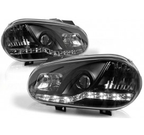 Тунинг диодни фарове Daylight за Volkswagen Golf 4 (1997-2003) Черни