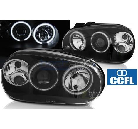 Тунинг фарове CCFL Angel Eyes за Volkswagen Golf 4 (1997-2003) Черни