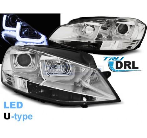 Тунинг фарове с R87 Дневни светлини U-Type за Volkswagen Golf 7 (2012-2017) Хром