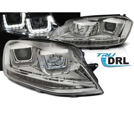 Тунинг фарове с R87 Дневни светлини U-Type и LED мигачи за Volkswagen Golf 7 (2012-2017) Хром