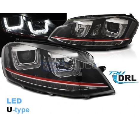 Тунинг фарове с R87 Дневни светлини U-Type и LED мигачи за Volkswagen Golf 7 (2012-2017) GTI Визия
