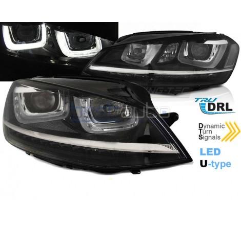 Тунинг фарове с R87 Дневни светлини U-Type и LED бягащи мигачи за Volkswagen Golf 7 (2012-2017) R Визия