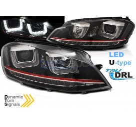 Тунинг фарове с R87 Дневни светлини U-Type и LED бягащи мигачи за Volkswagen Golf 7 (2012-2017) GTI Визия