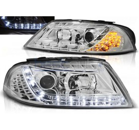 Тунинг диодни фарове Daylight с LED мигачи за Volkswagen Passat B5.5 3BG (2000-2005) Хром