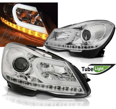 """Тунинг фарове Tube Light с """"Бягащ мигач"""" за Mercedes ML W164 (2005-2007) Хром"""